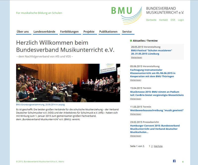 """Startseite des neuen Internetauftritts des """"Bundesverband Musikunterricht"""" e.V."""