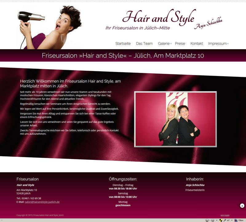 Screenshot der Startseite von Hair and Style