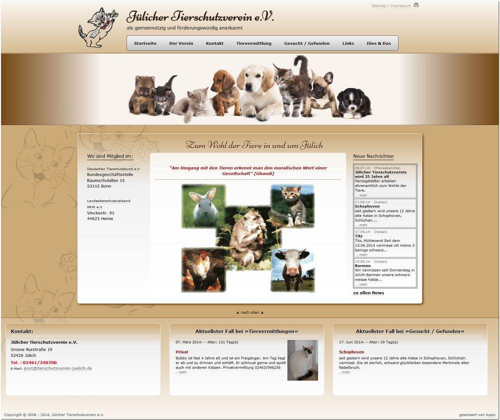 Screenshot von der Startseite von www.tierschutzverein-juelich.de