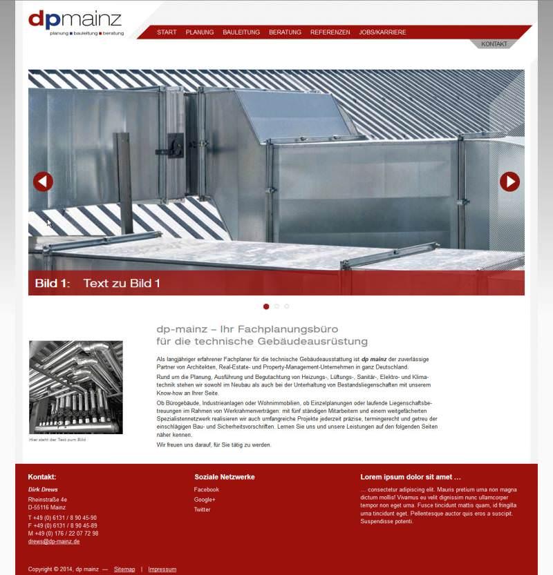Screenshot der Startseite mit Platzhalterbild von dp mainz