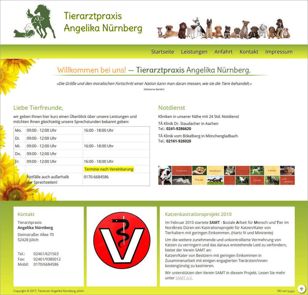 Screenshot der neuen Startseite von tierarzt-juelich.de