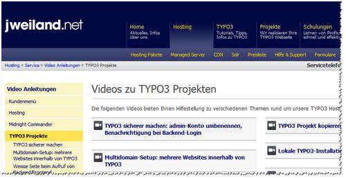 Screenshot der Video-Übersichtsseite von jweiland.net