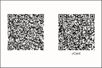 Visitenkarte Rückseite: QR-Code VCF und Homepage