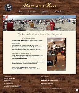 """Screenshot der Startseite vom """"Haus am Meer"""" in Borkum"""